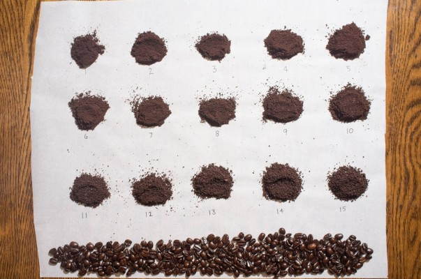 Ground coffee particle sizes
