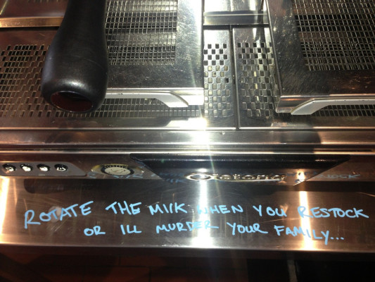 A miffed barista leaves a delicate message for a coworker