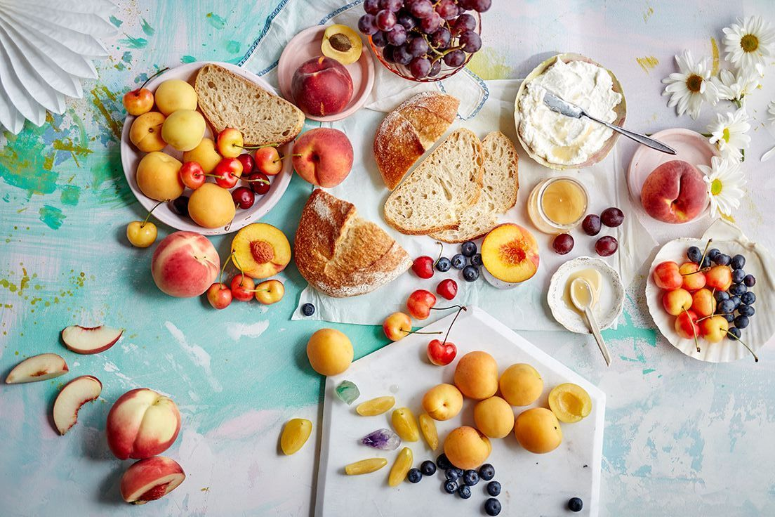Fruits and other ingredients on table